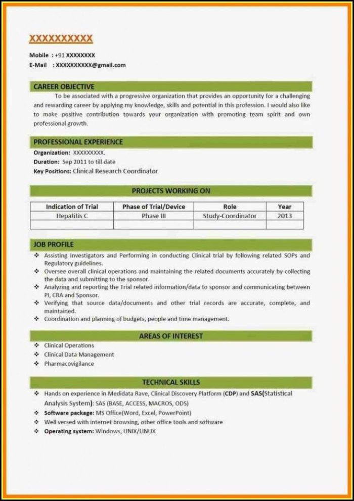 Resume Format 2018 Free Template
