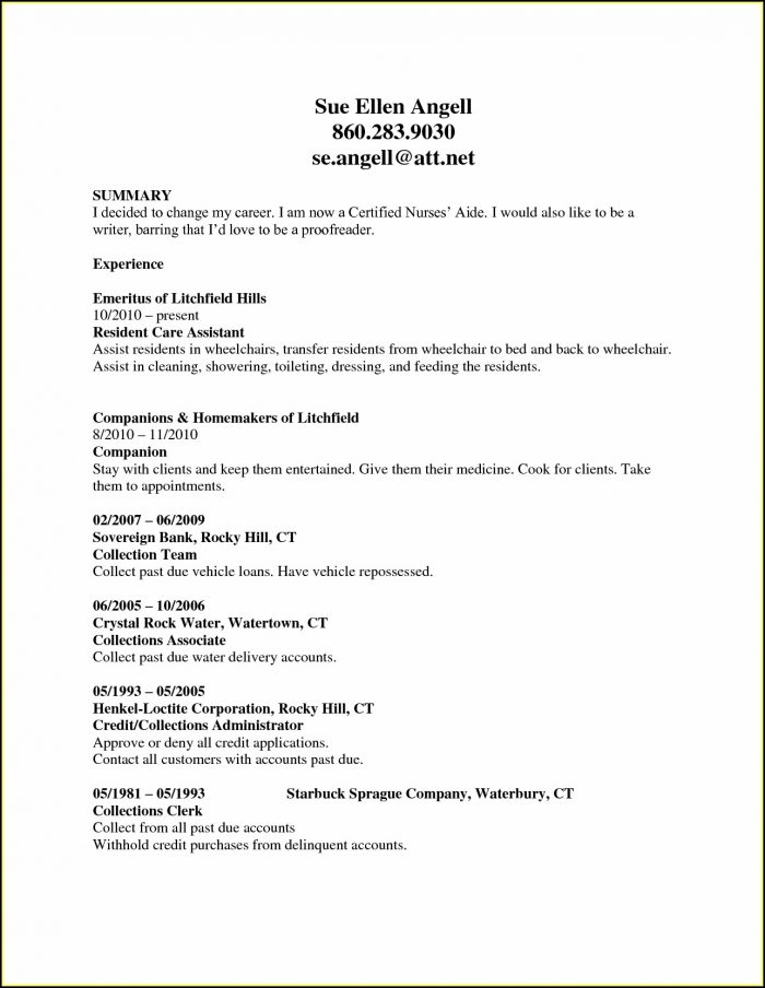 Resume Template For Cna
