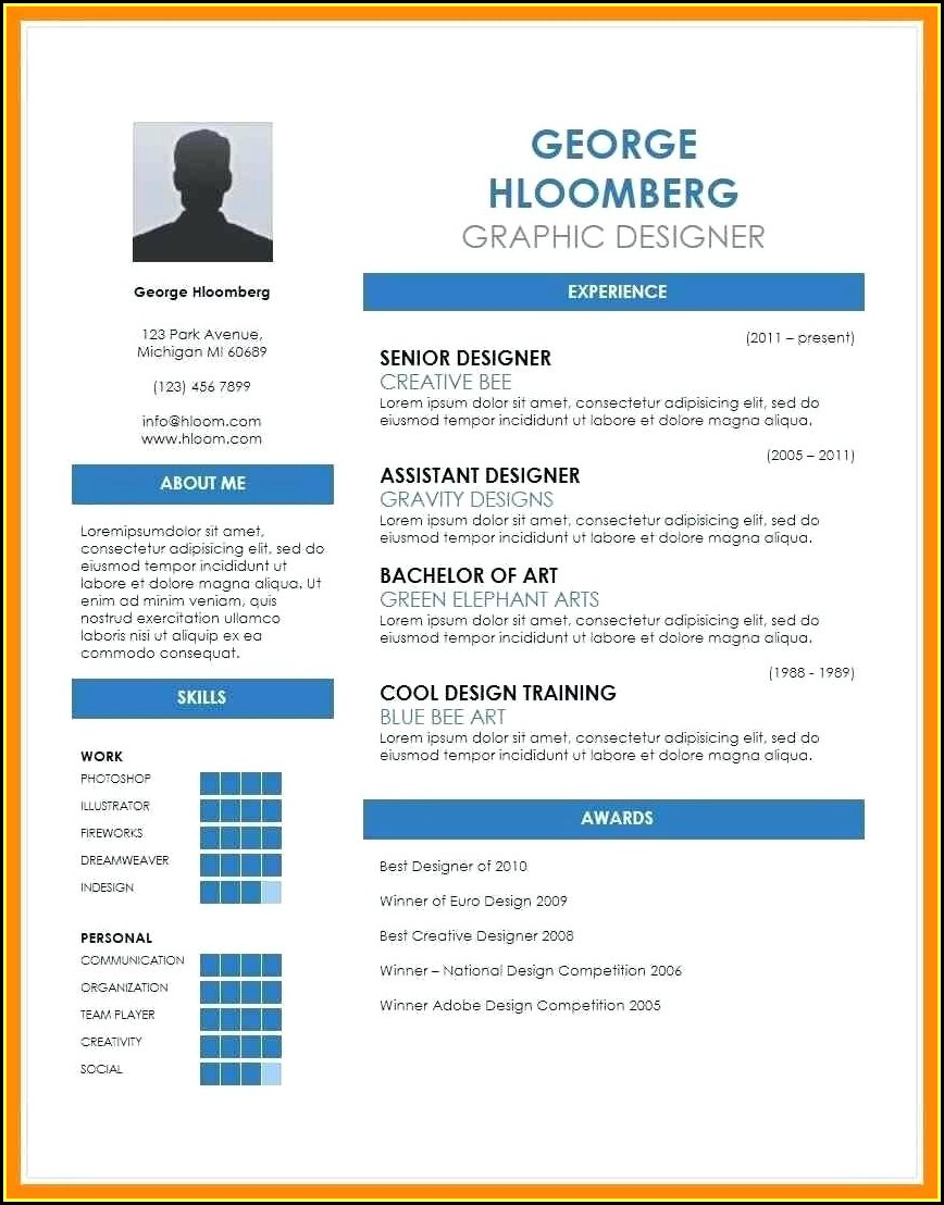 Resume Template Microsoft Word Free