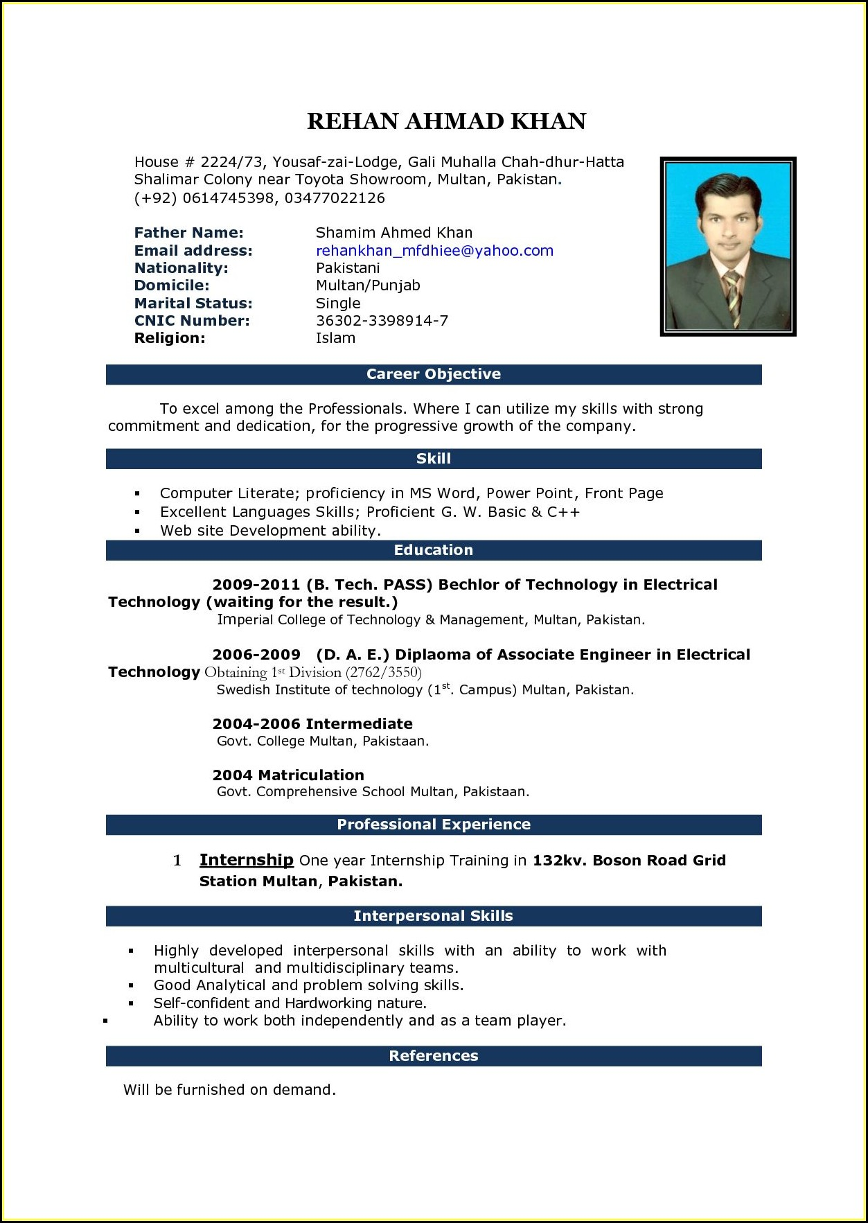 Resume Templates Microsoft Word Free Download