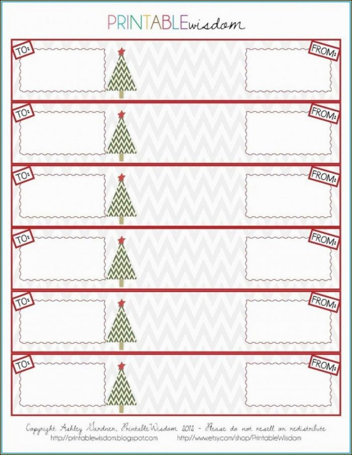 Return Address Labels Christmas Template