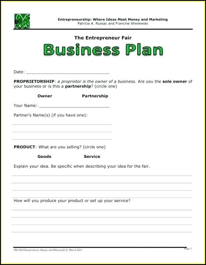 Sales Rep Business Plan Template