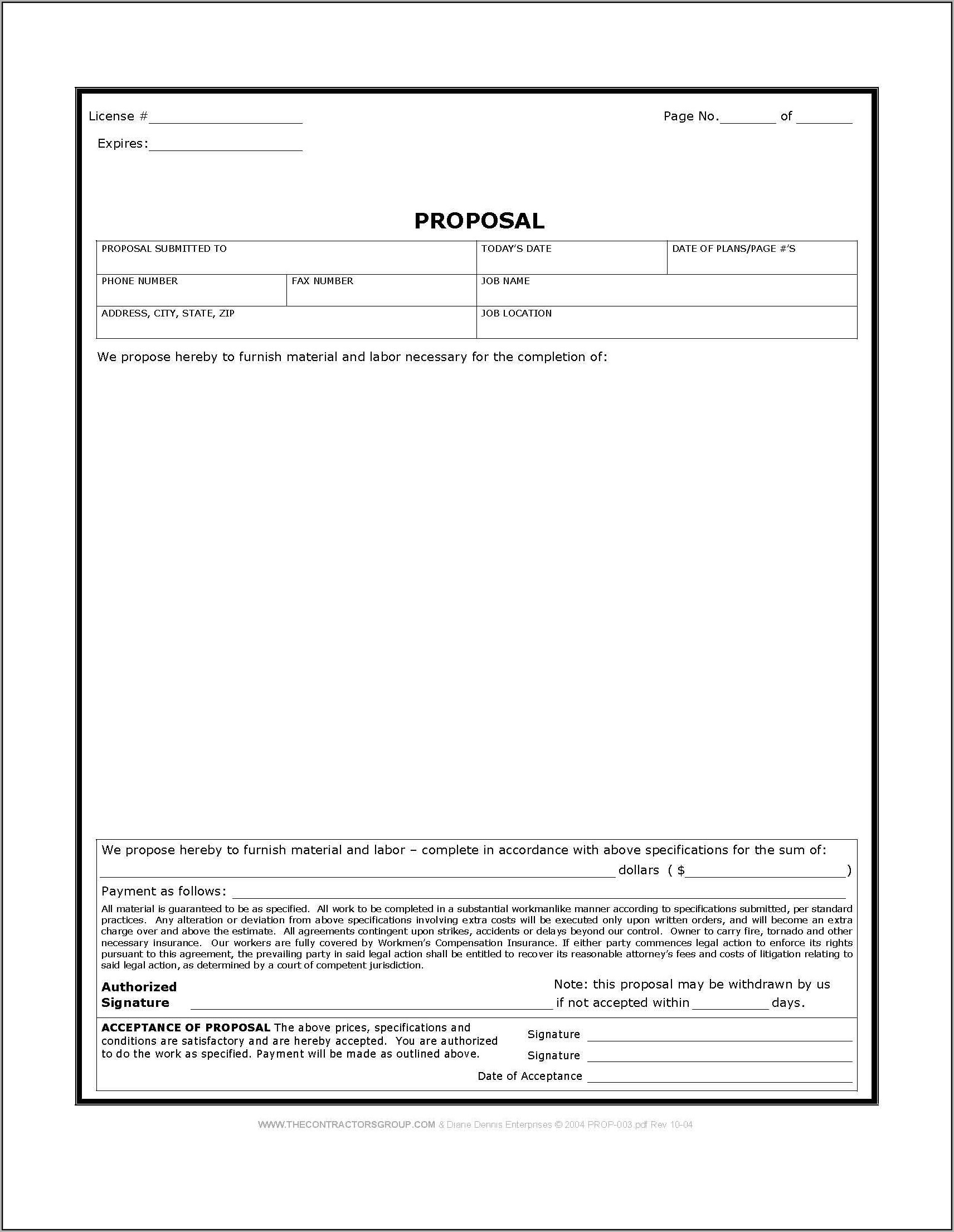 Construction Bid Proposal Template Free