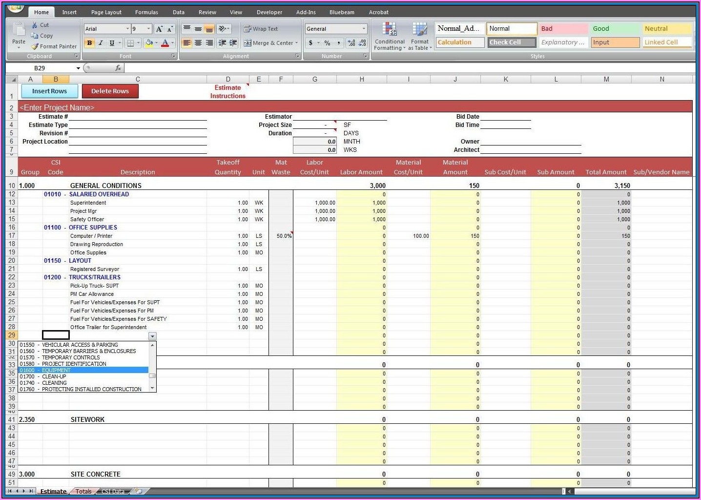 Construction Cost Estimate Template Excel In India