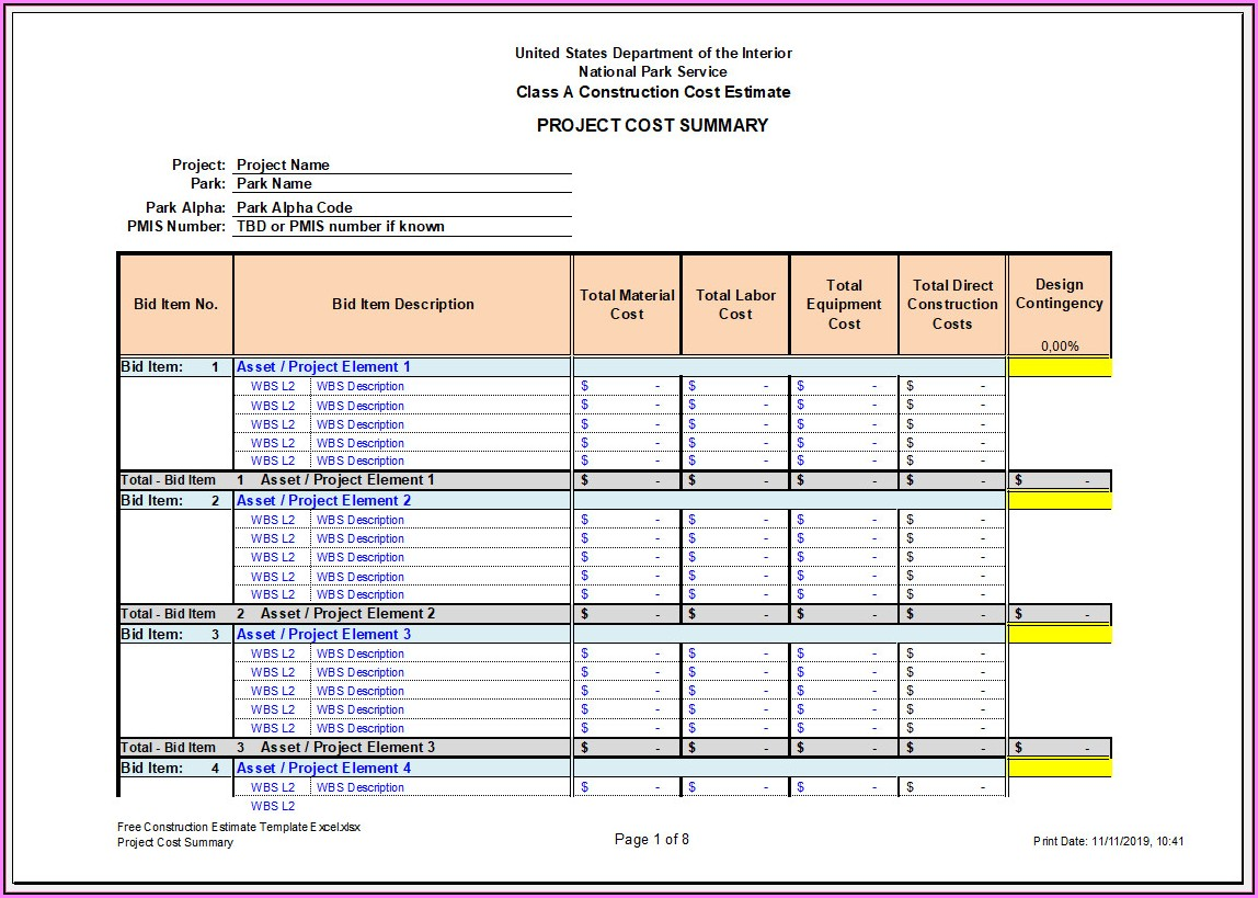 Construction Estimate Template Excel Free