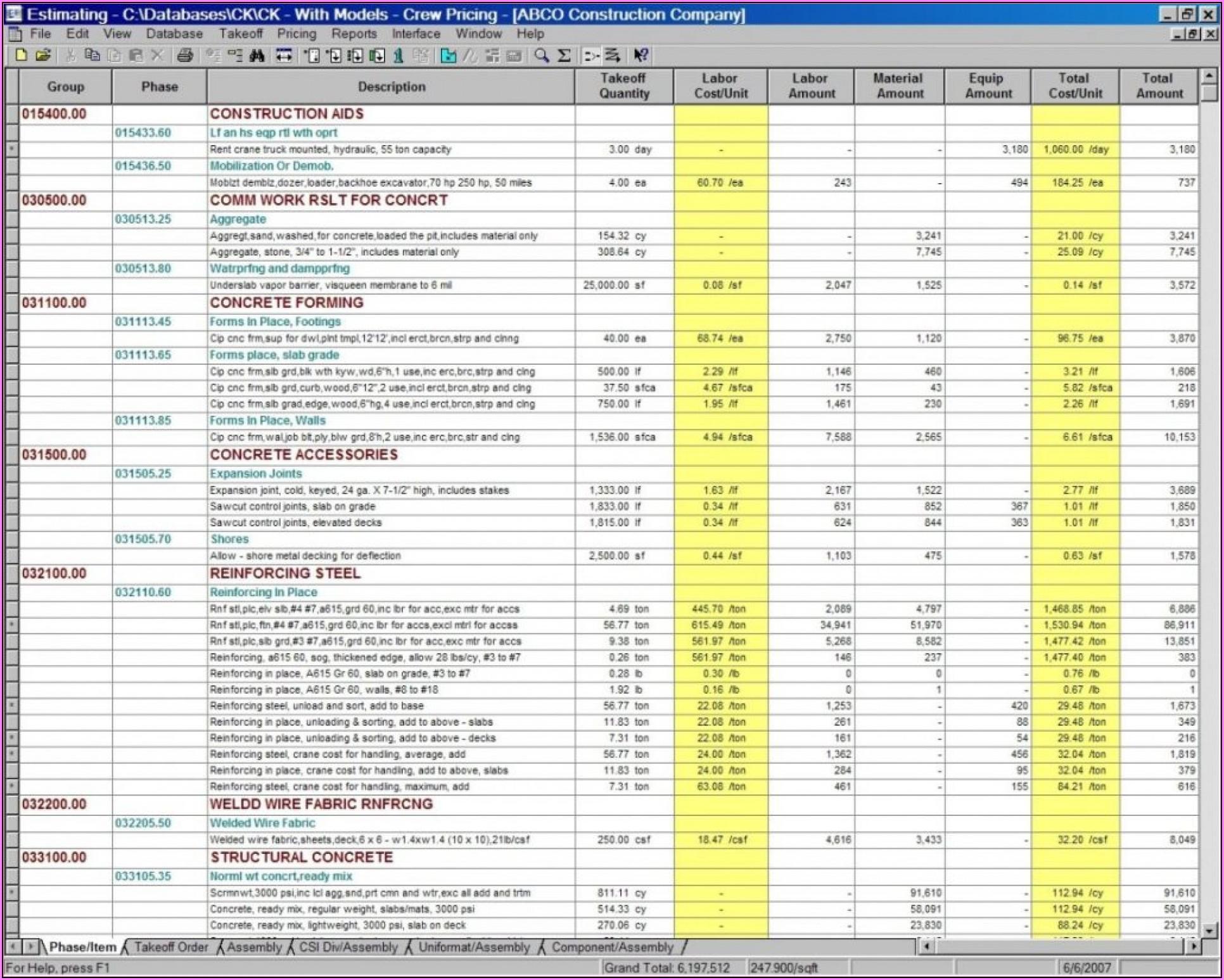 Construction Estimate Template Excel India