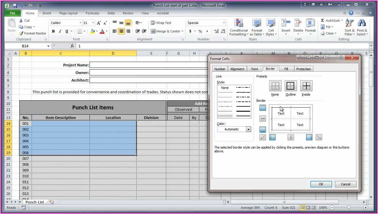 Construction Punch List Template Excel Free