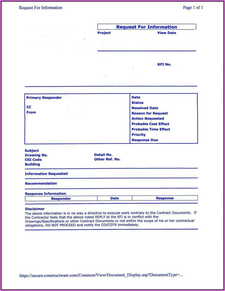 Construction Rfi Response Template