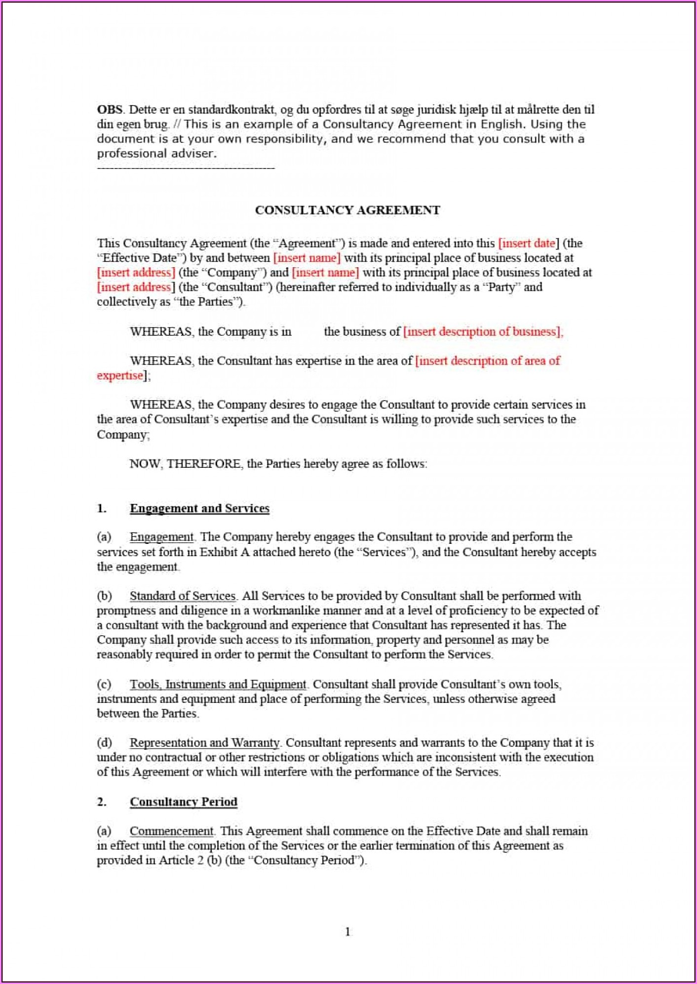 Consultant Agreement Template Uk