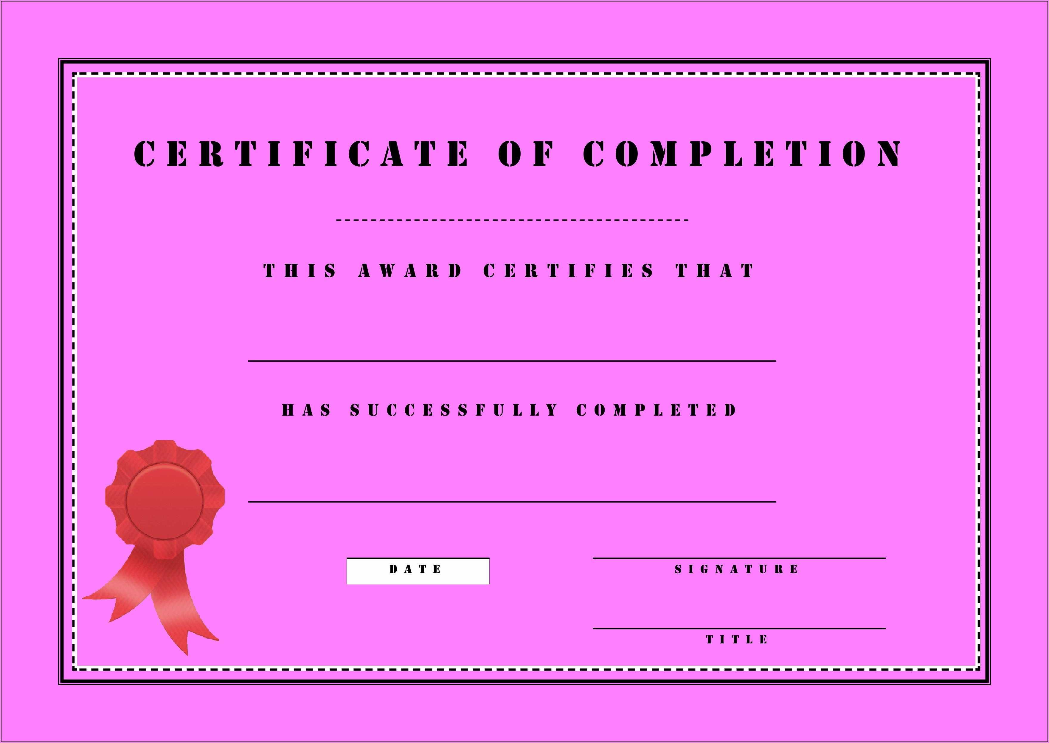 Customizable Certificate Template Free