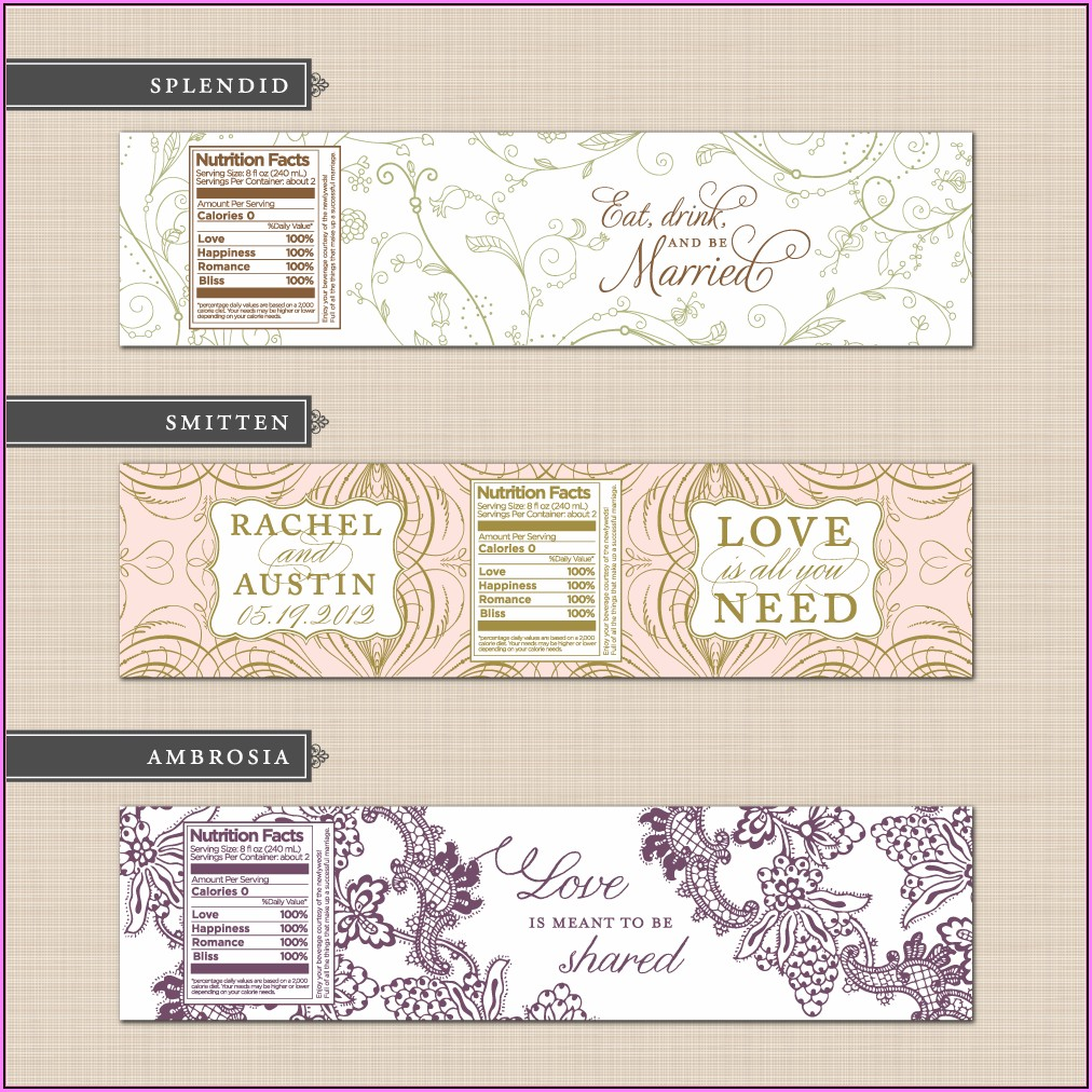 Diy Wedding Water Bottle Label Template