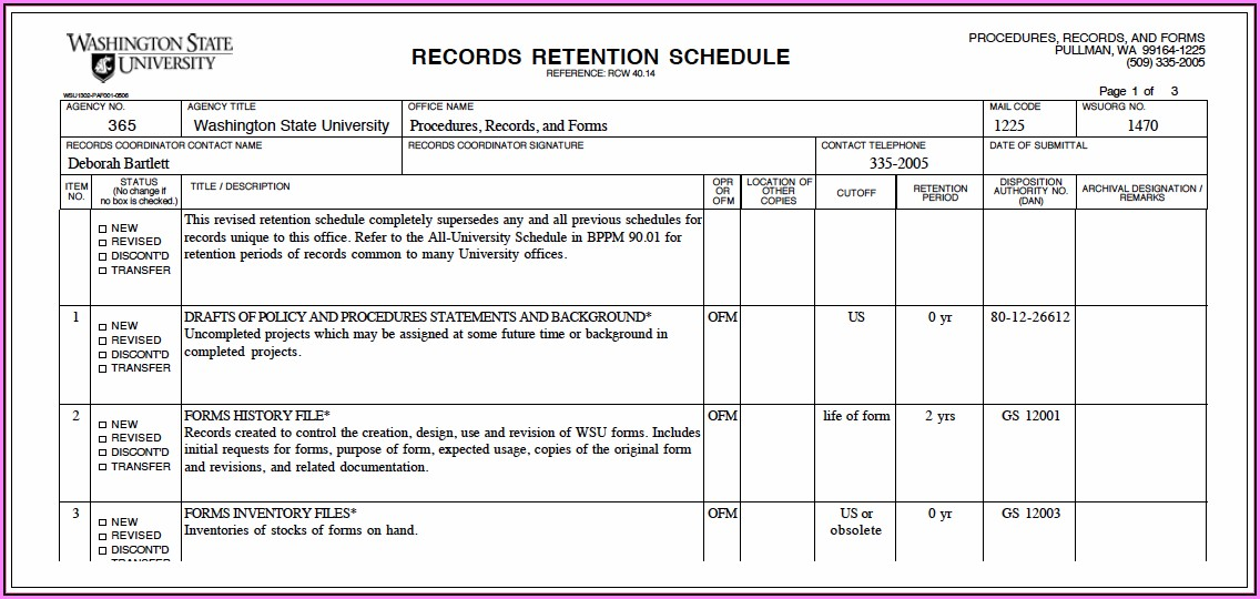 Document Retention Policy Template For College