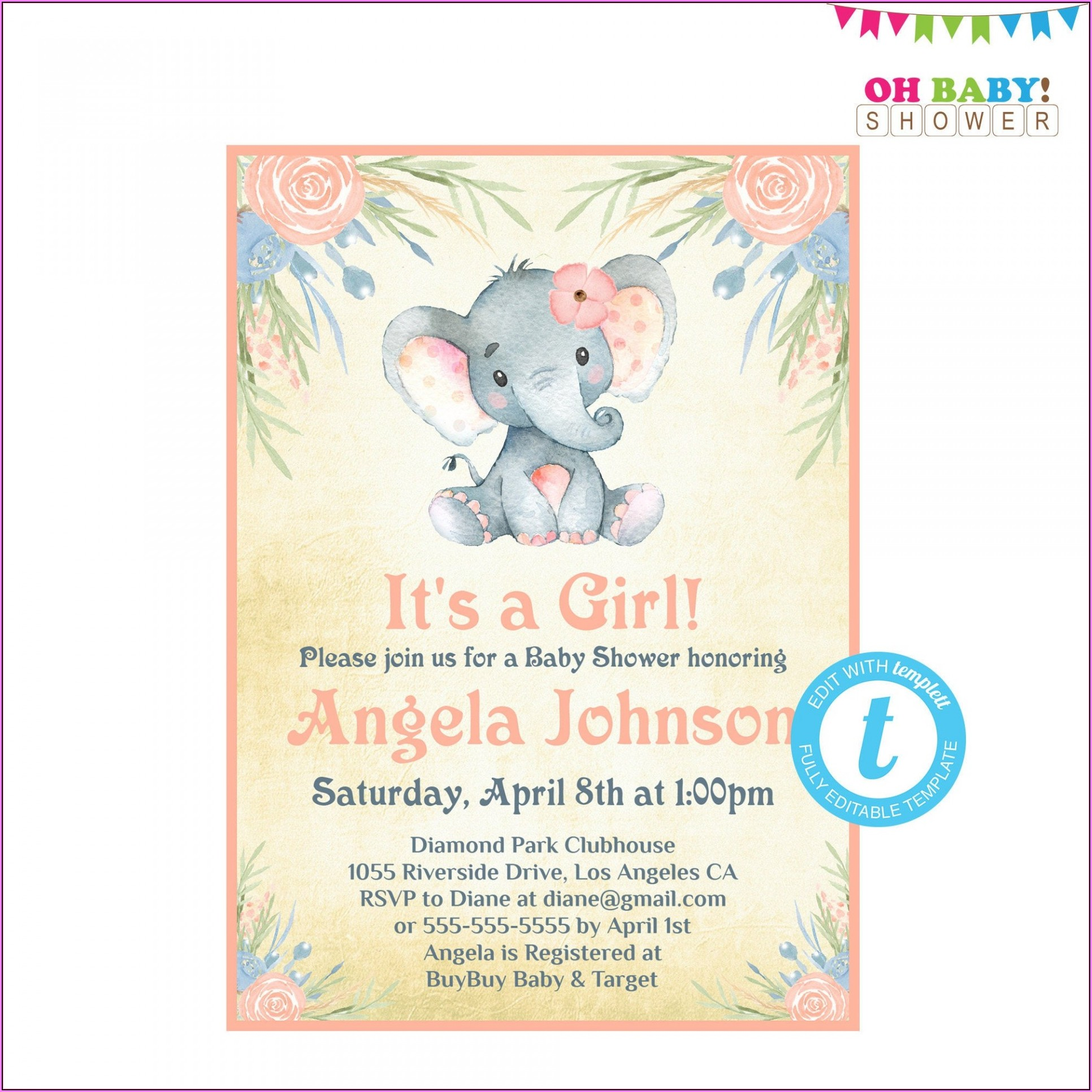 Elephant Baby Shower Invitation Maker