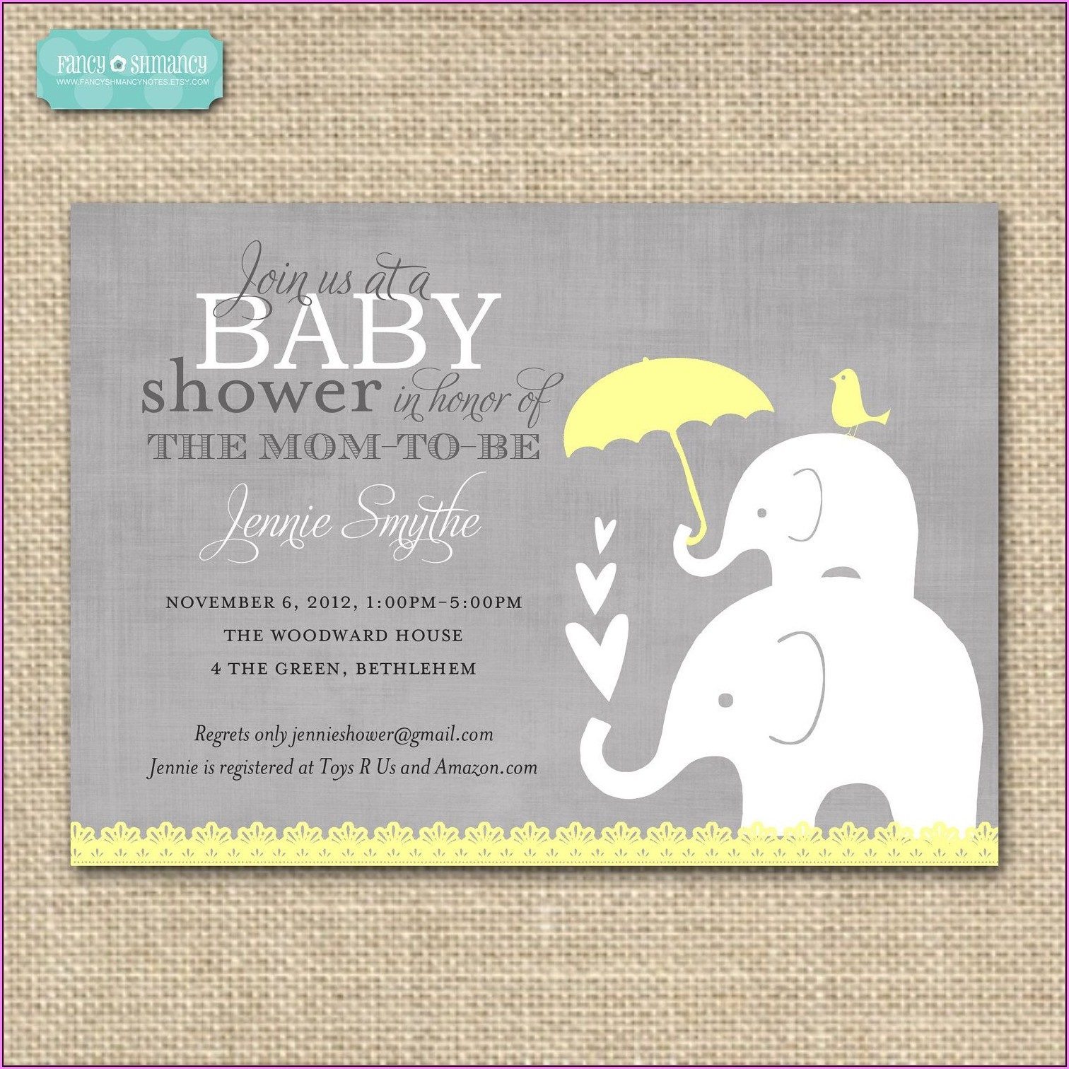 Elephant Baby Shower Invitation Templates