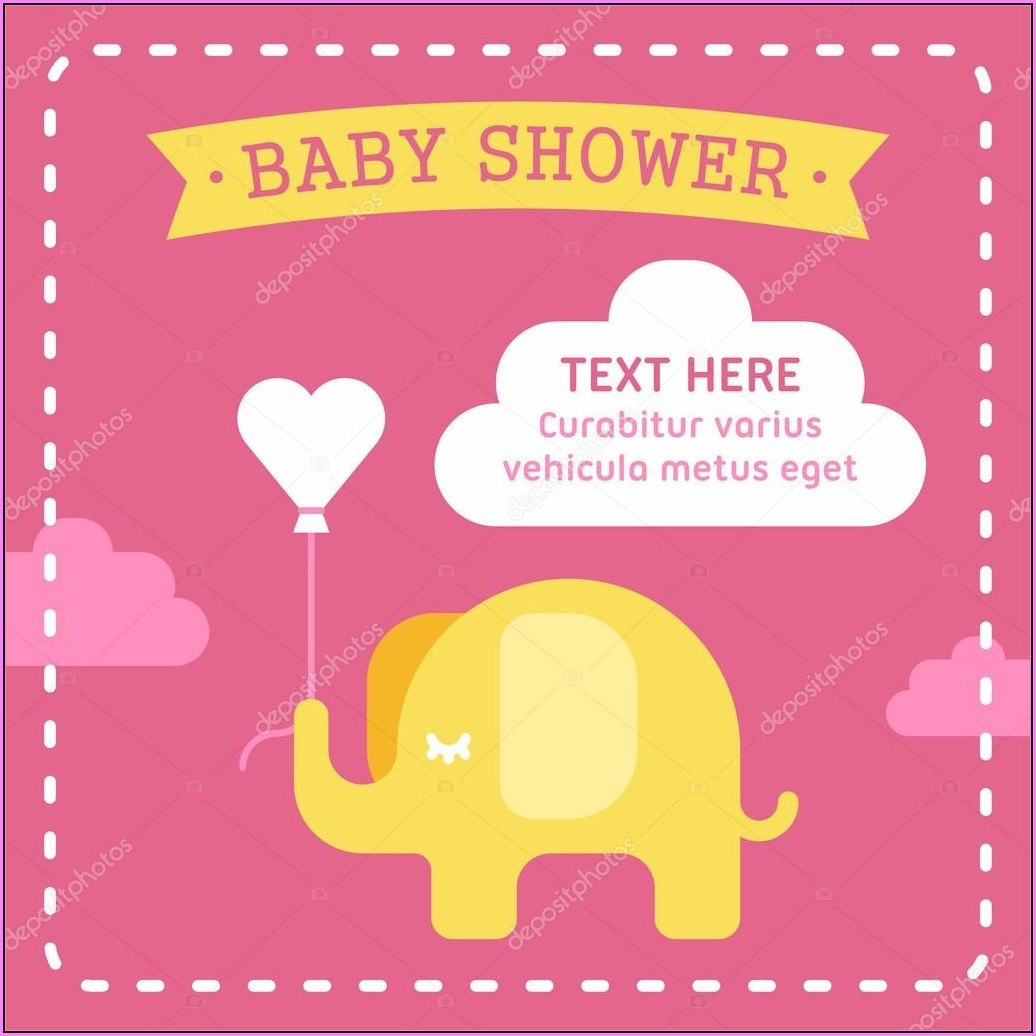 Elephant Girl Baby Shower Invitations Templates