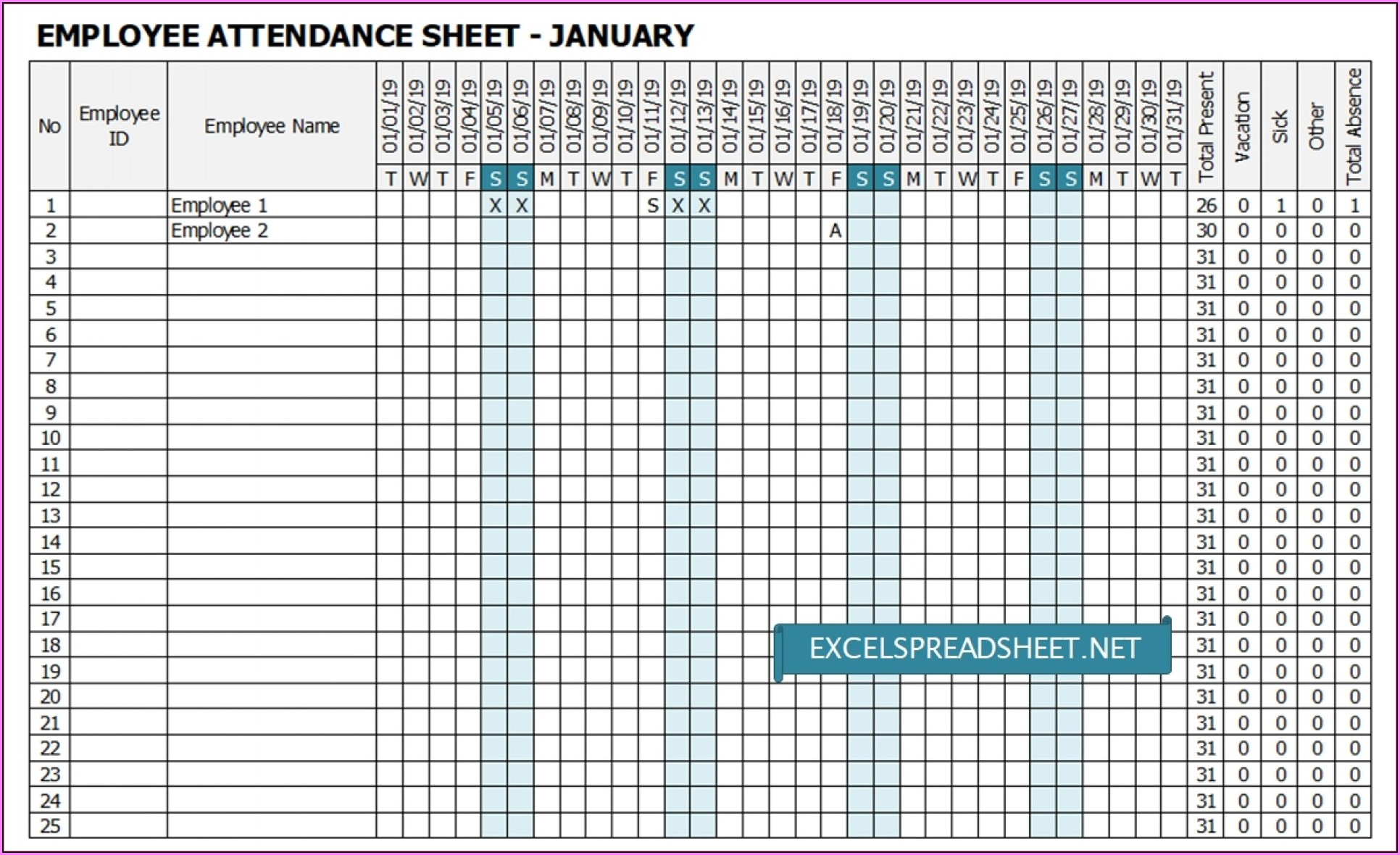 Employee Monthly Attendance Tracker Excel Template