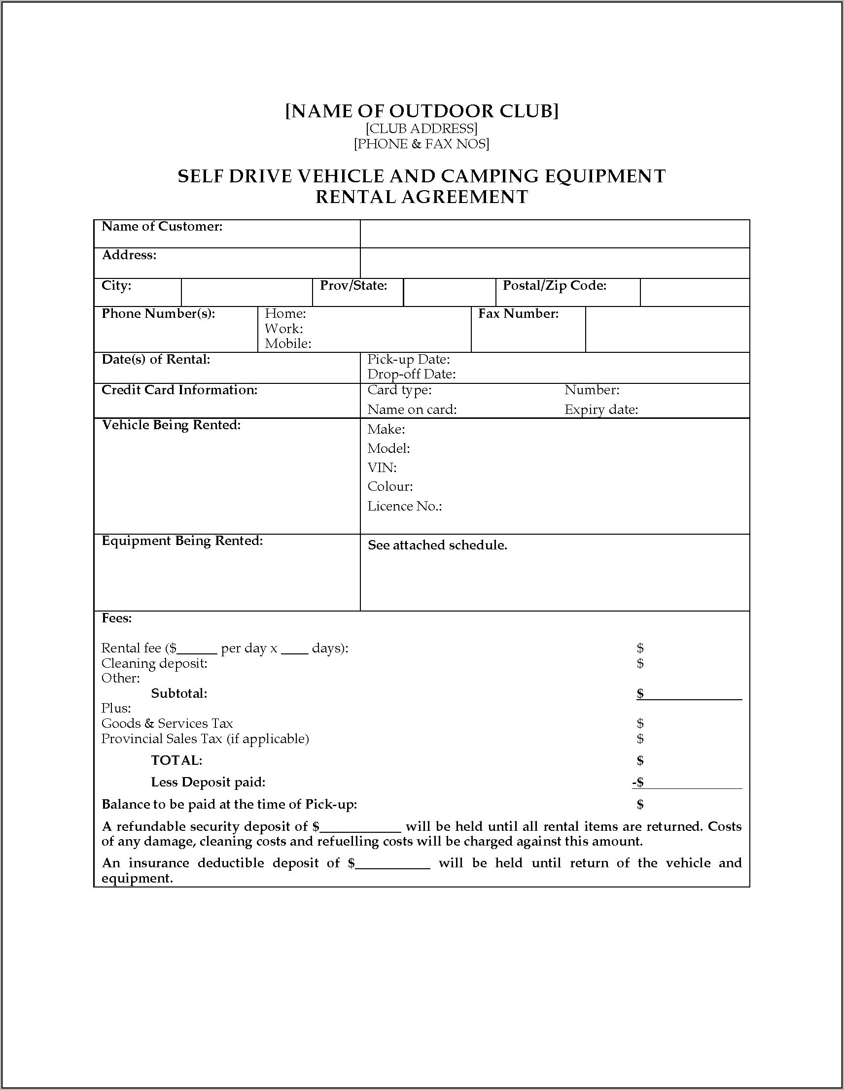 Equipment Rental Agreement Template Bc