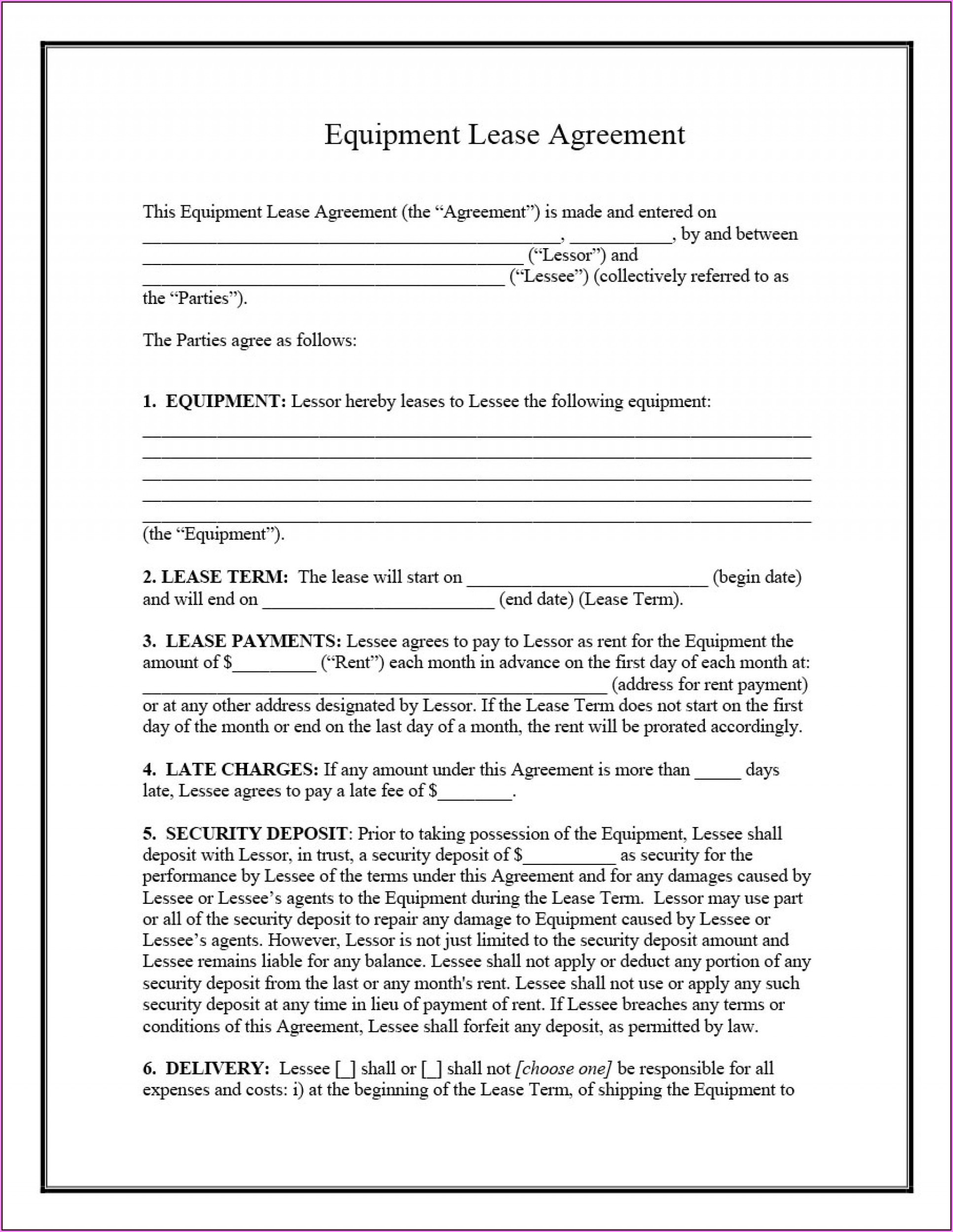 Equipment Rental Agreement Template Pdf