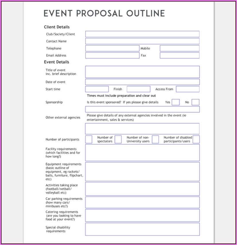 Event Planning Proposal Template Word