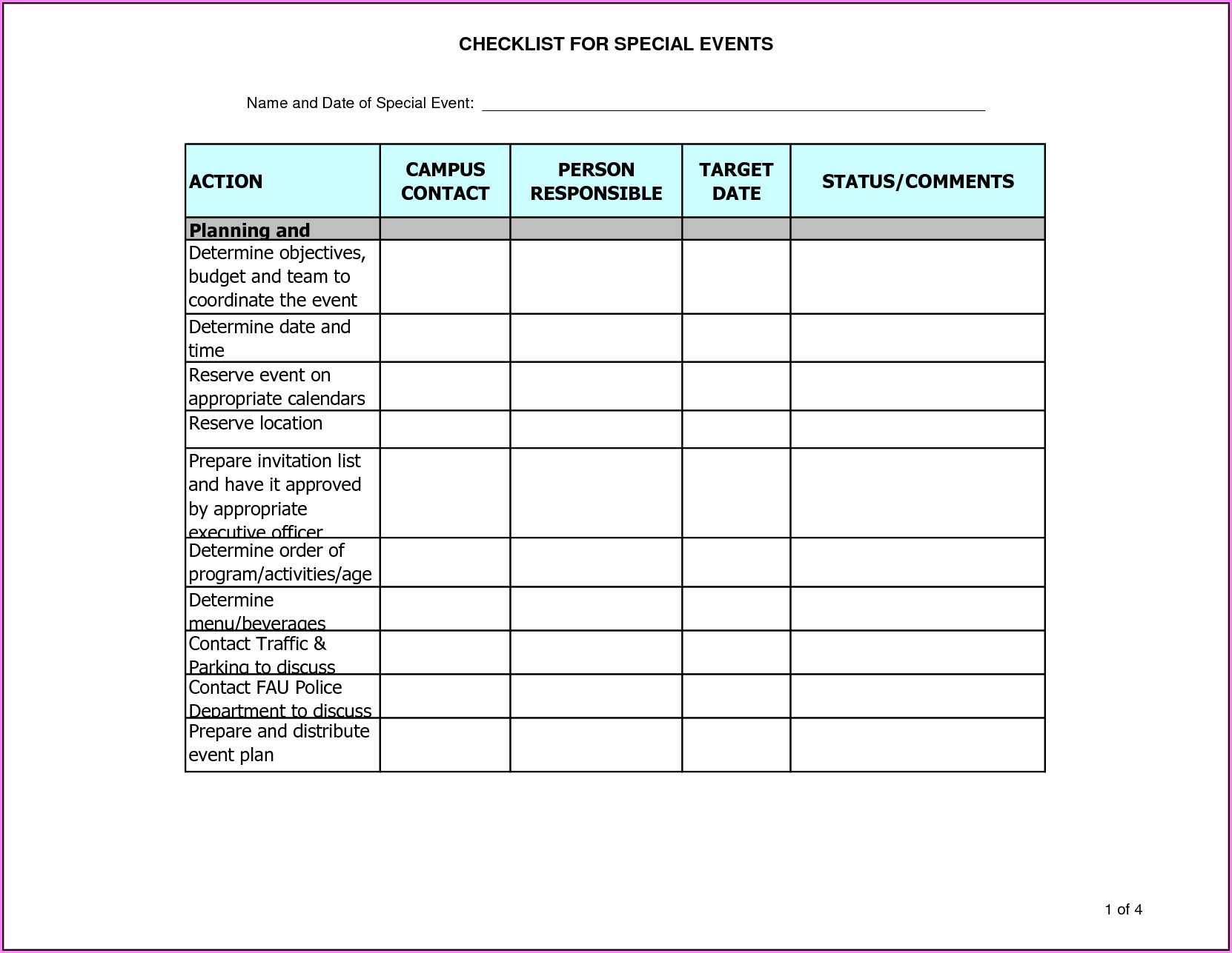 Events Planning Proposal Template