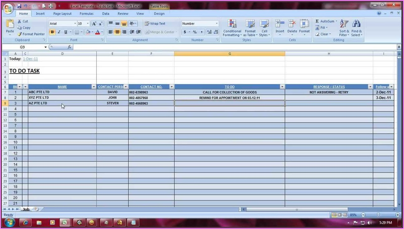 Excel Template Task Management
