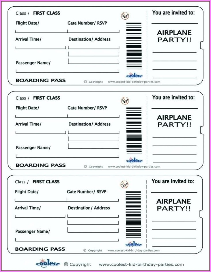 Fake Airline Ticket Template Word