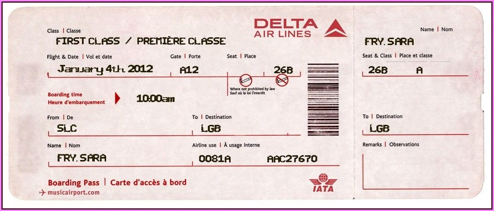 Fake Delta Airline Ticket Template