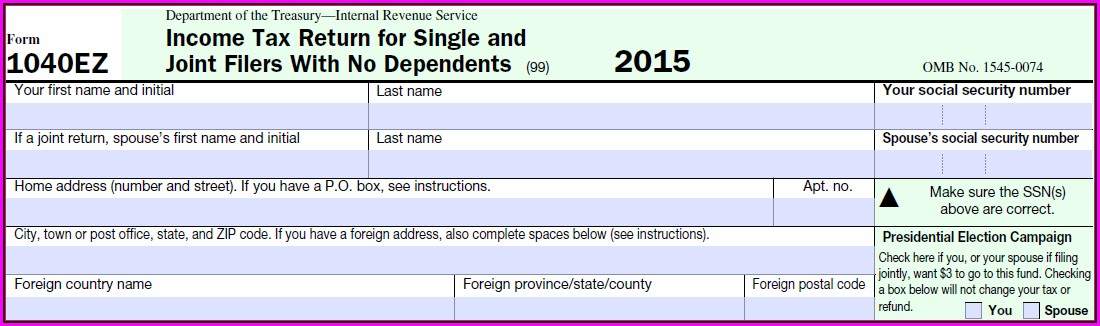Federal Income Tax Form 1040ez 2015