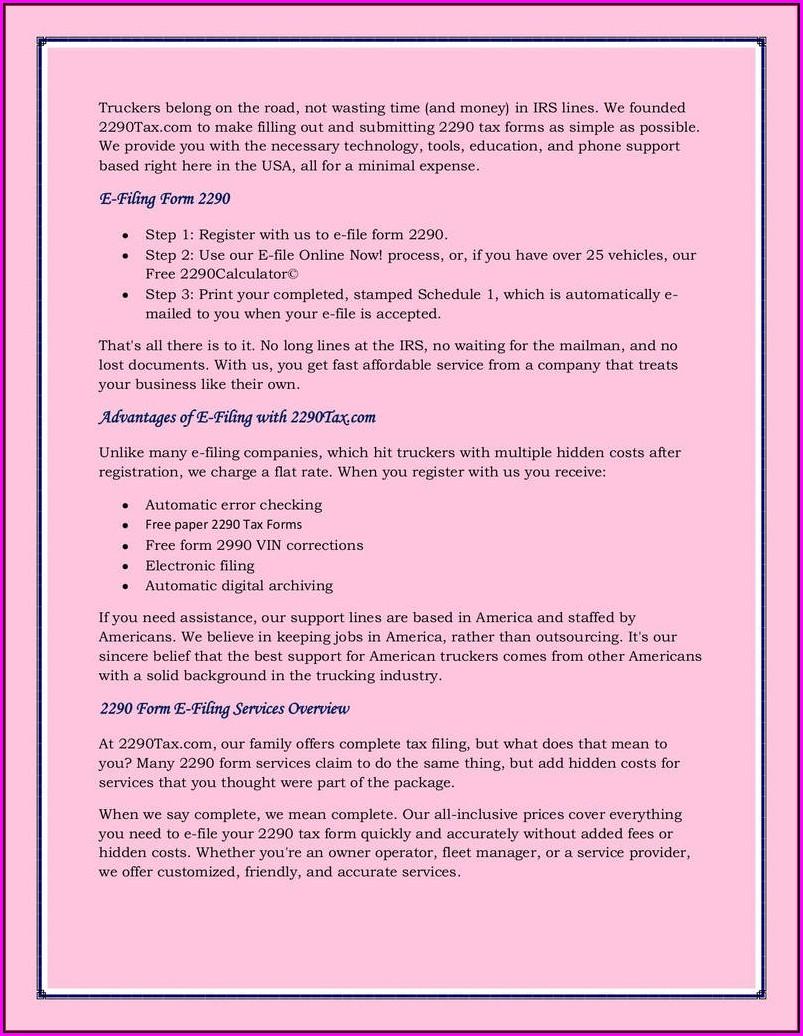 Filing Instructions Form 2290
