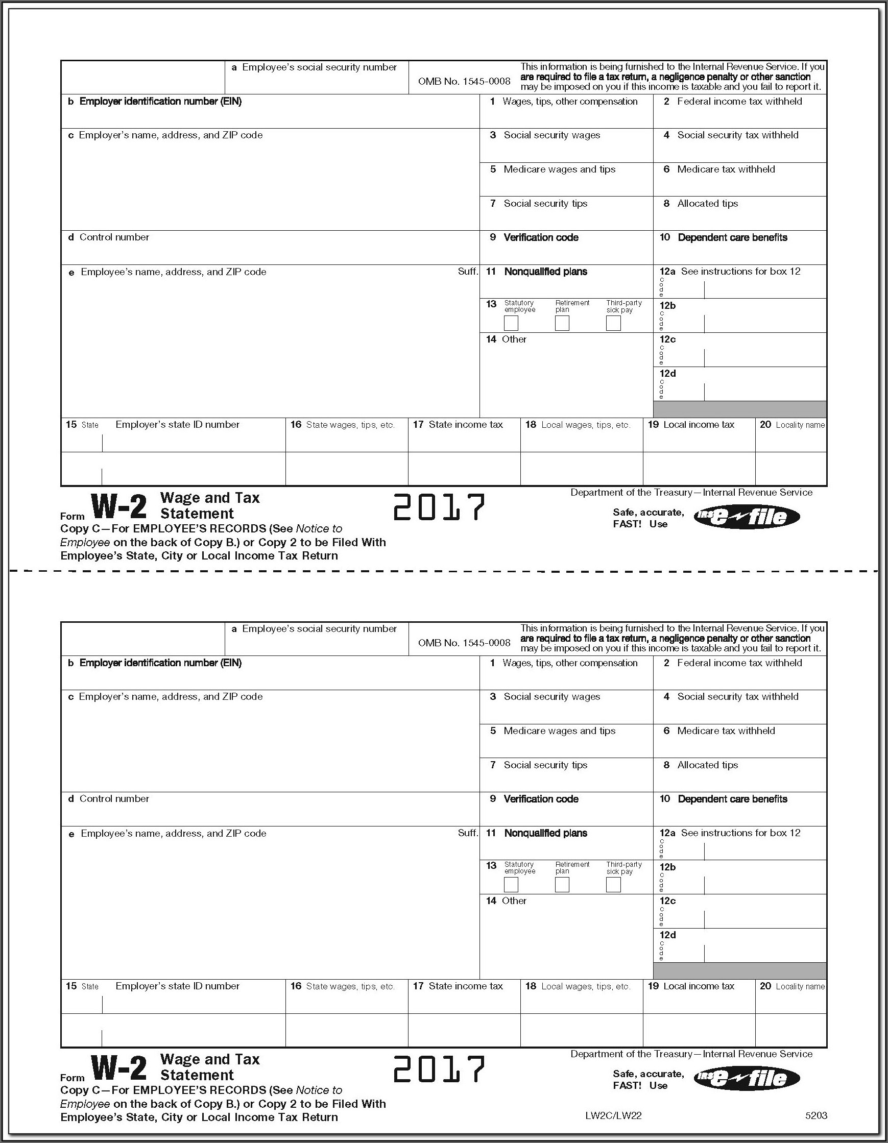 Fillable 2014 W 2 Form Download