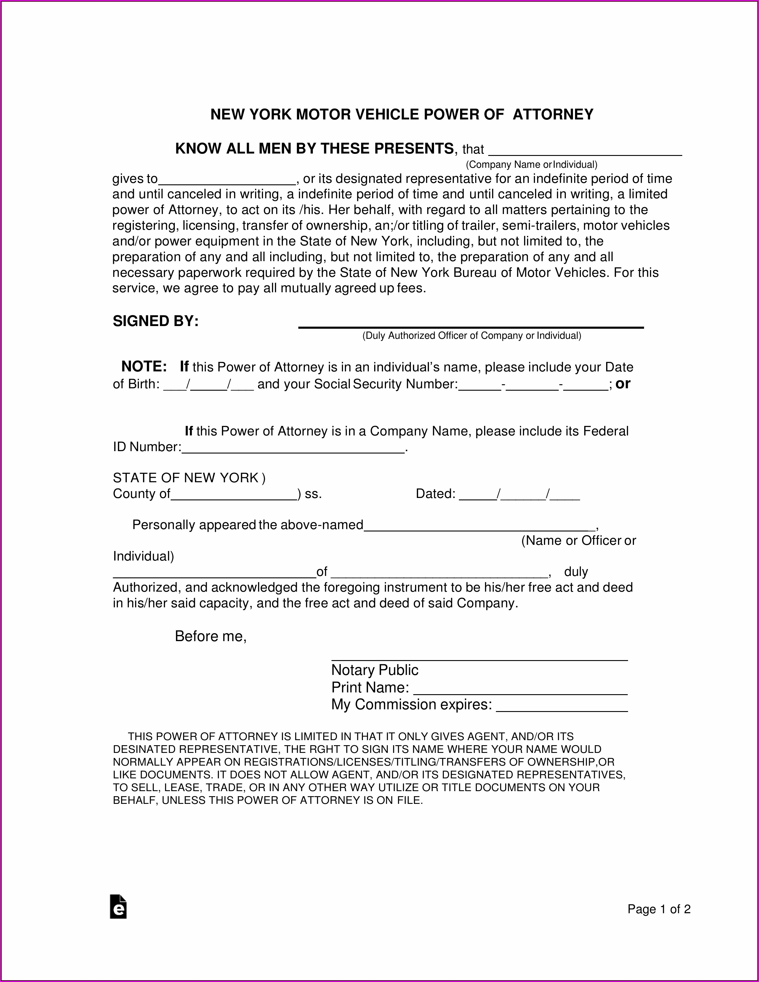 Fillable Durable Power Of Attorney Form Ny
