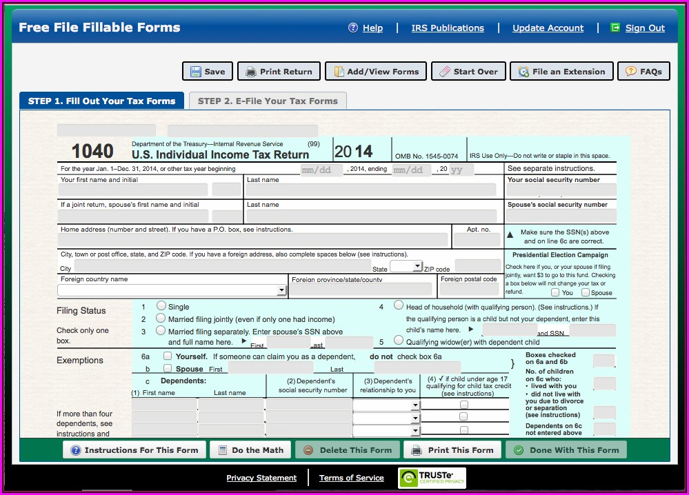 Fillable Tax Forms Online