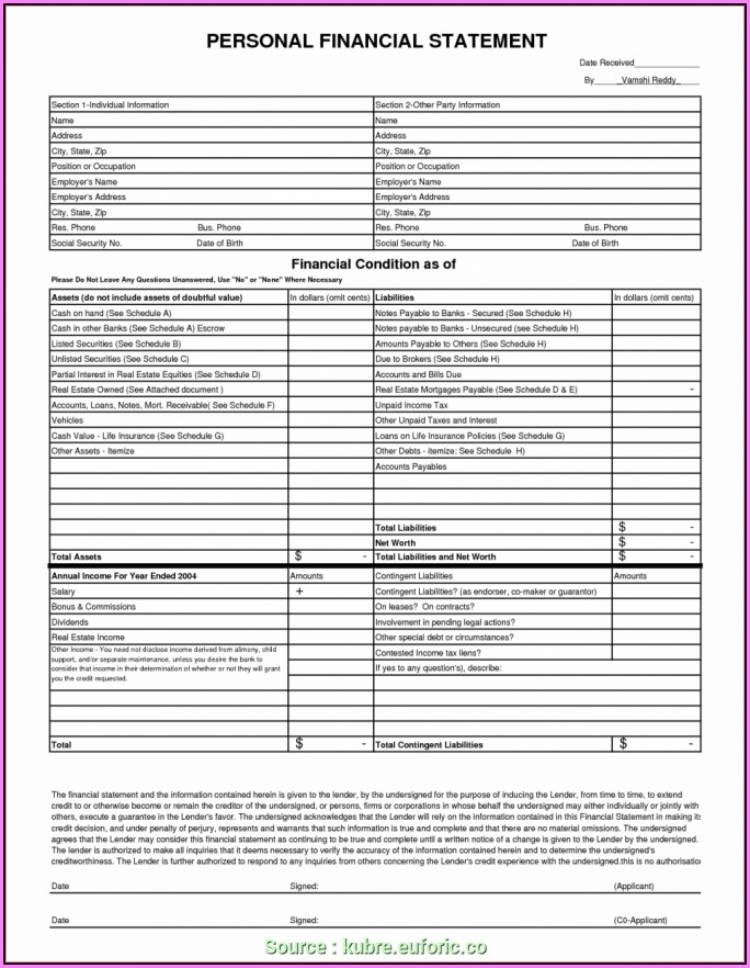 Financial Statement Template Xls
