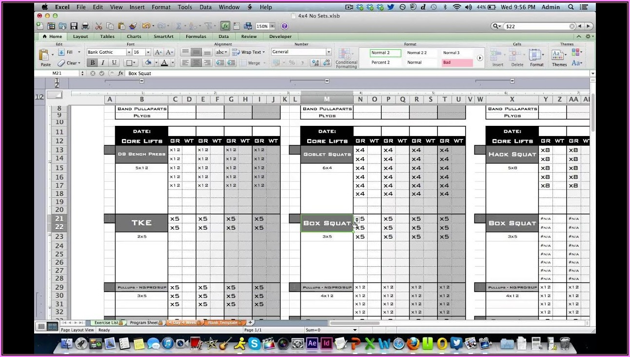 Fitness Log Template Excel