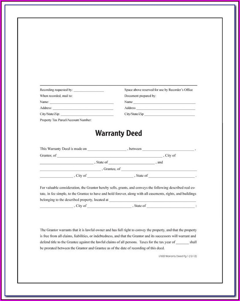 Florida Warranty Deed Form Word