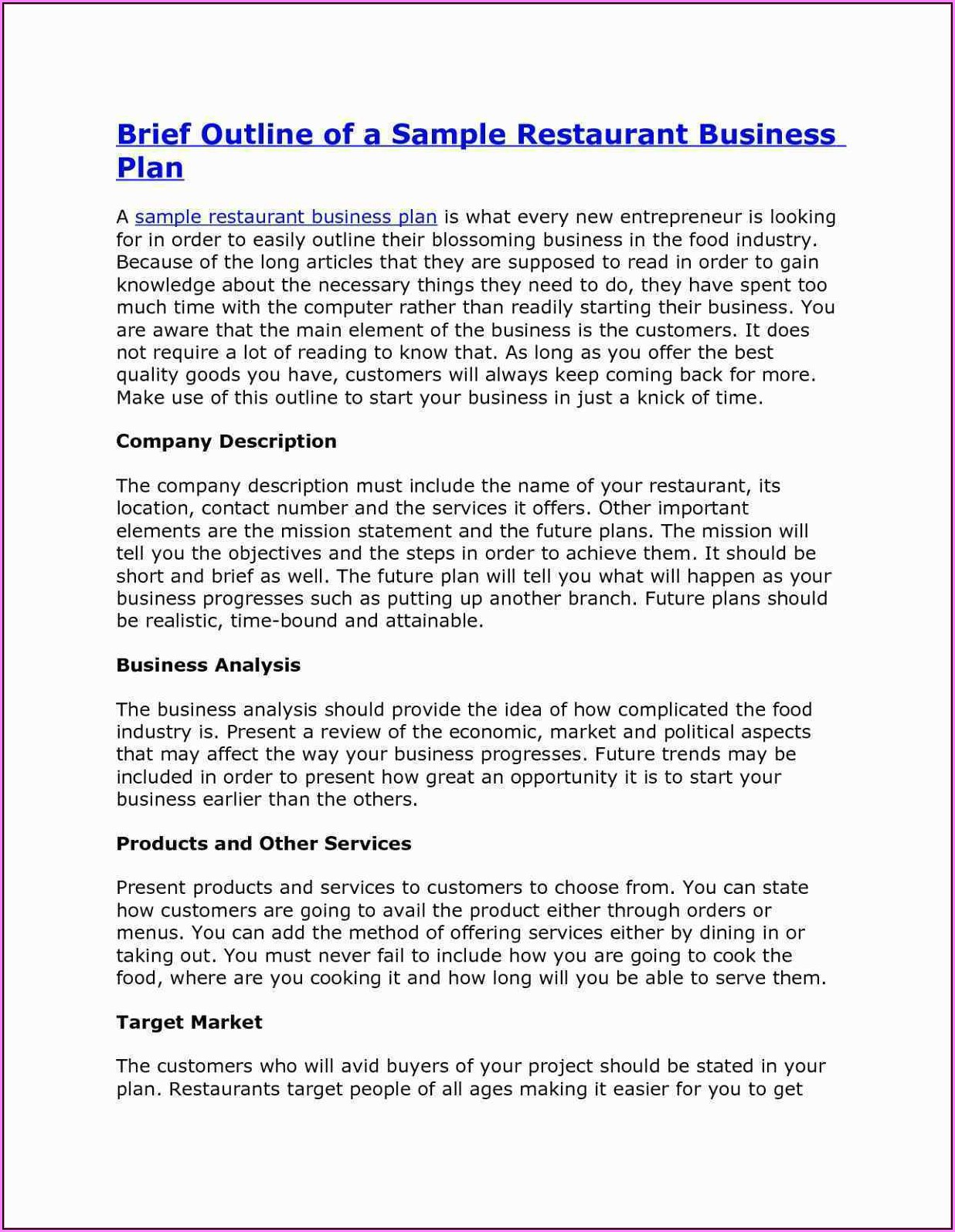 Food Truck Business Plan Template Free