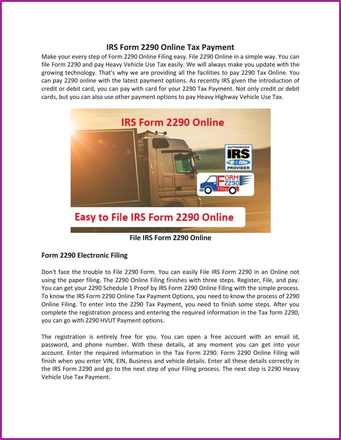 Form 2290 E File