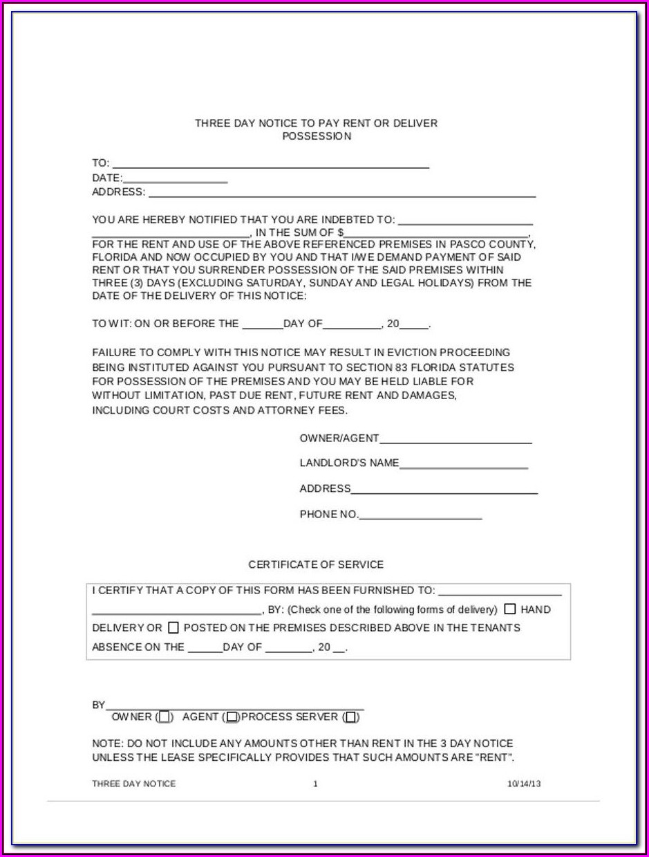 Free 3 Day Eviction Notice Form Florida