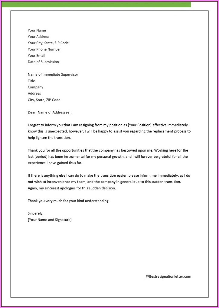 Free Basic Resignation Letter Template