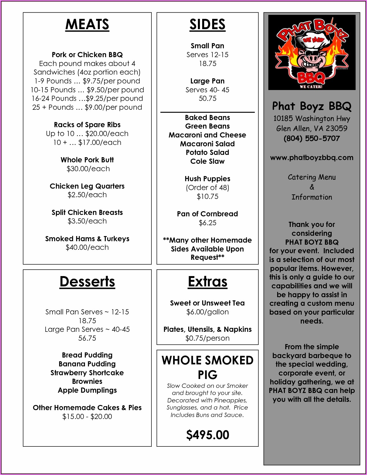 Free Bbq Catering Menu Template