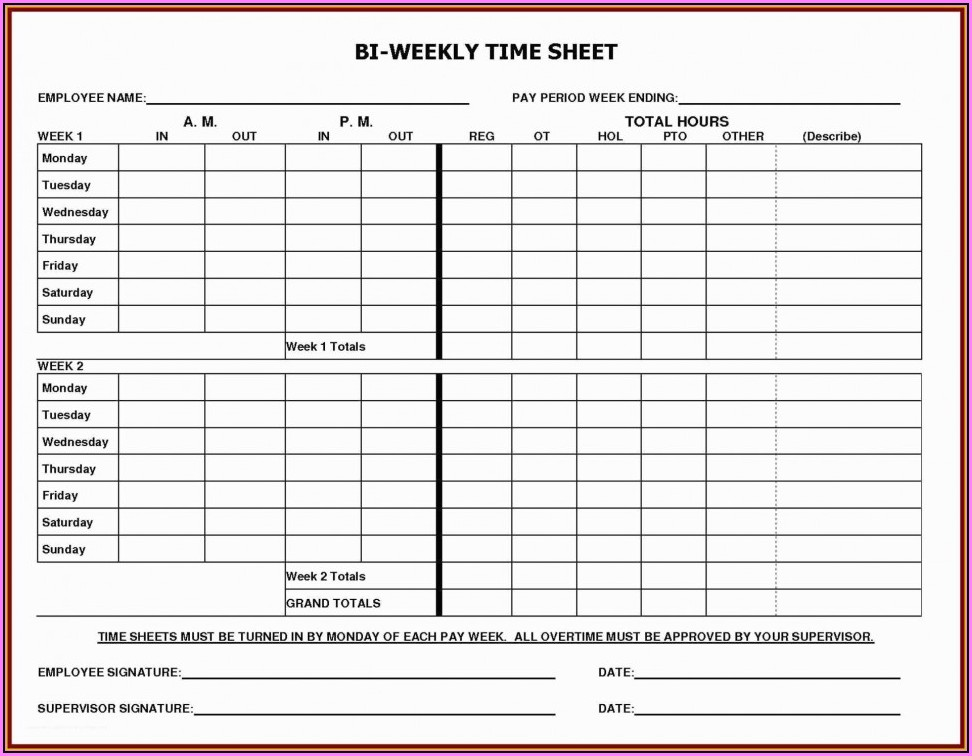 Free Bi Weekly Timesheet Template