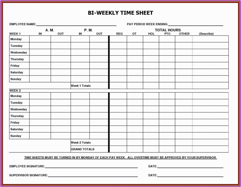 Free Bi Weekly Timesheet Template