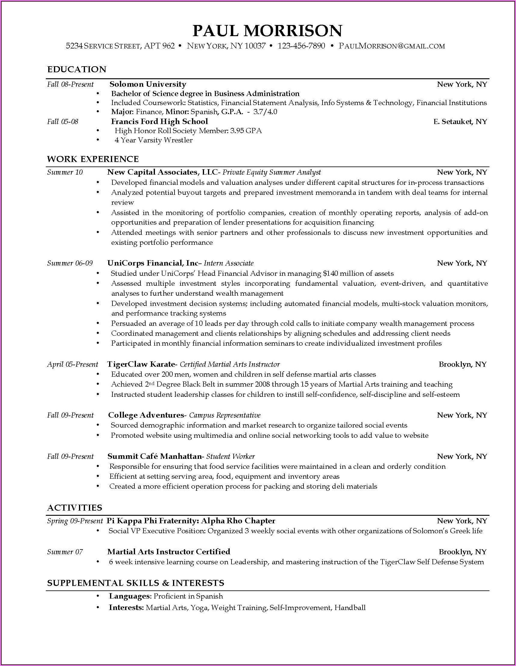 Free Blank Chronological Resume Templates