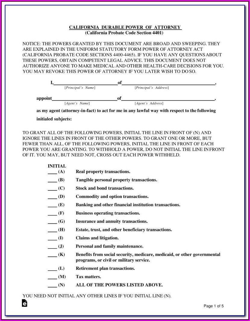 Free Blank Power Of Attorney Form Ohio