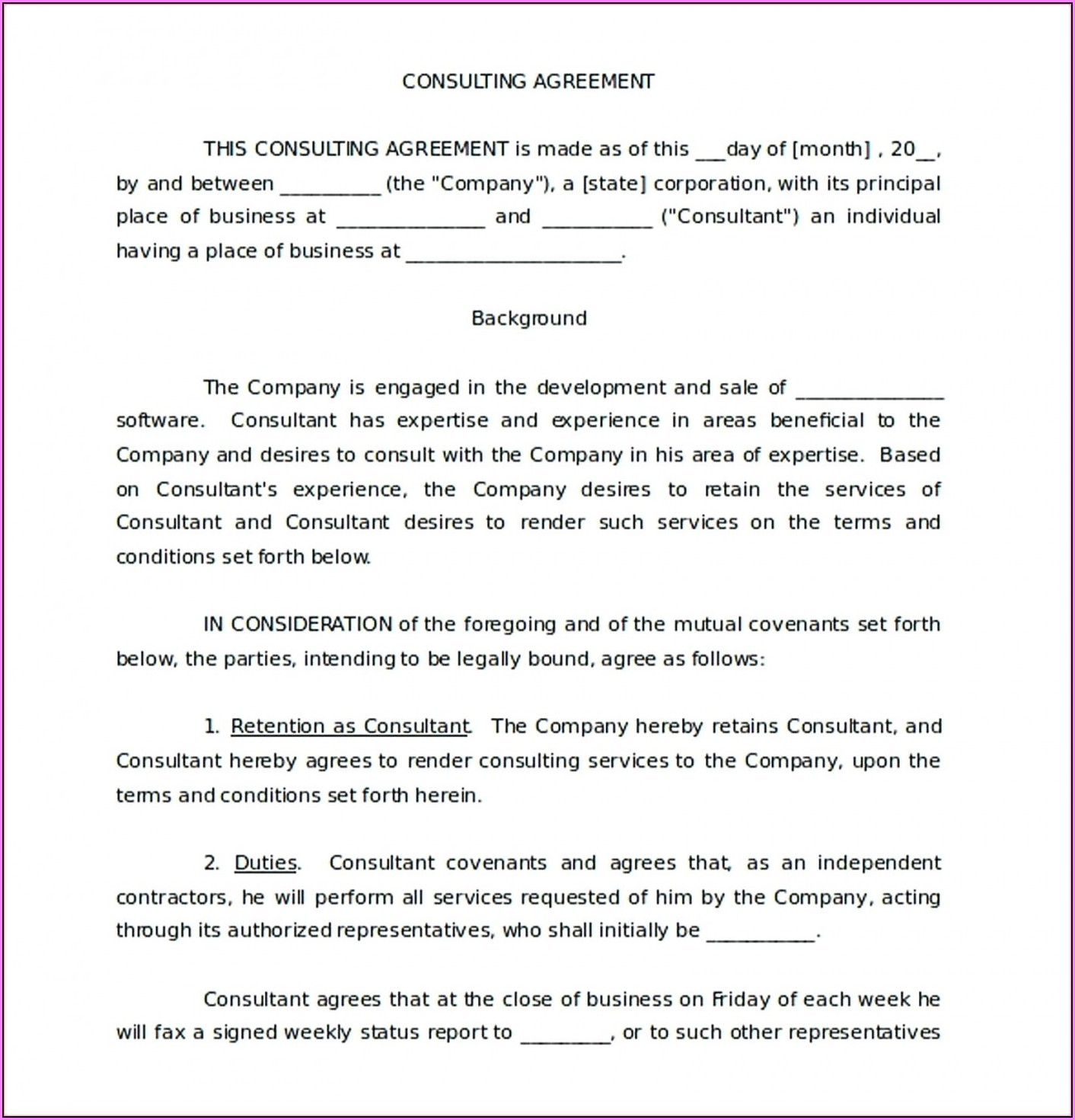 Free Business Consultant Agreement Template