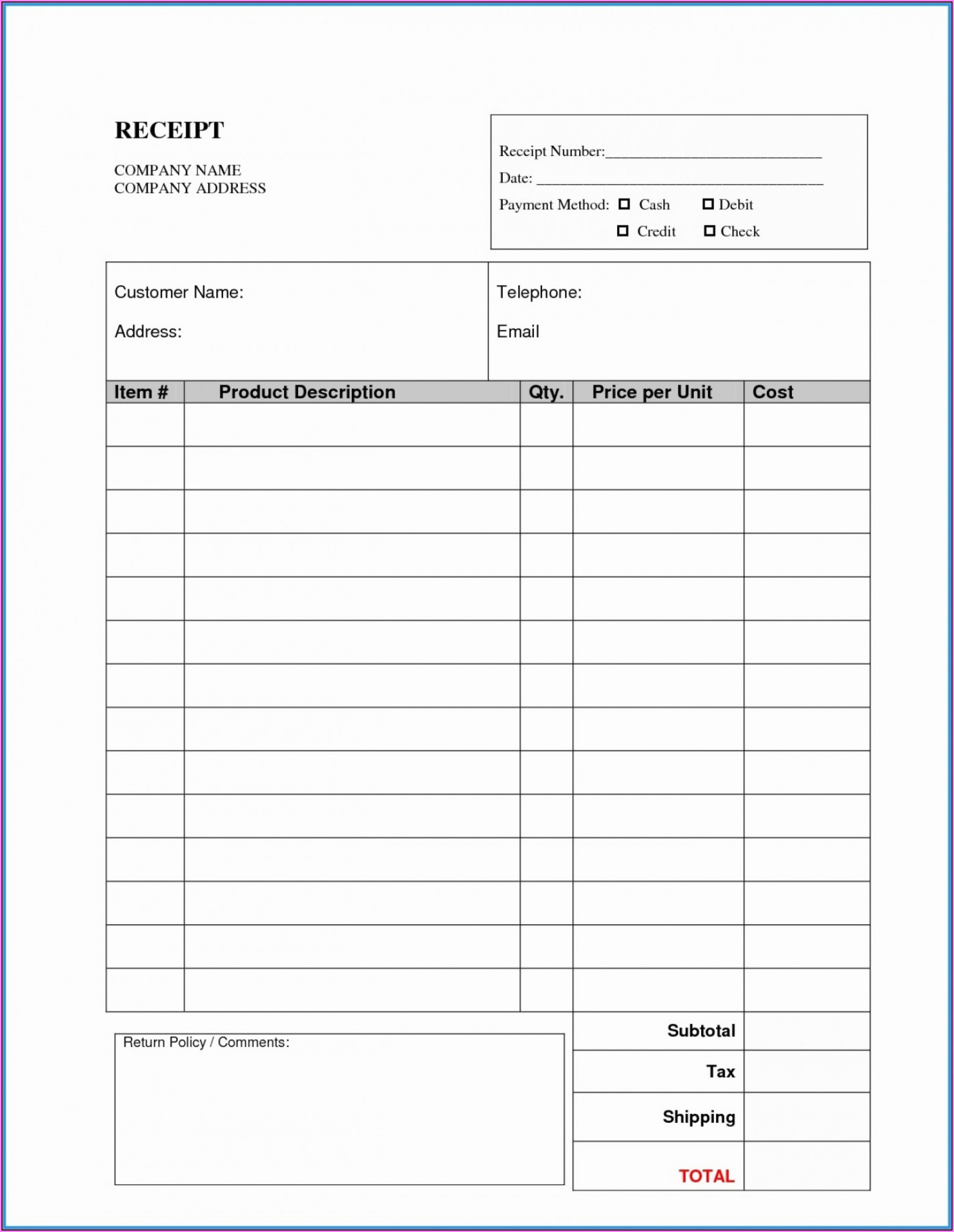 Free Cash Receipt Template Doc