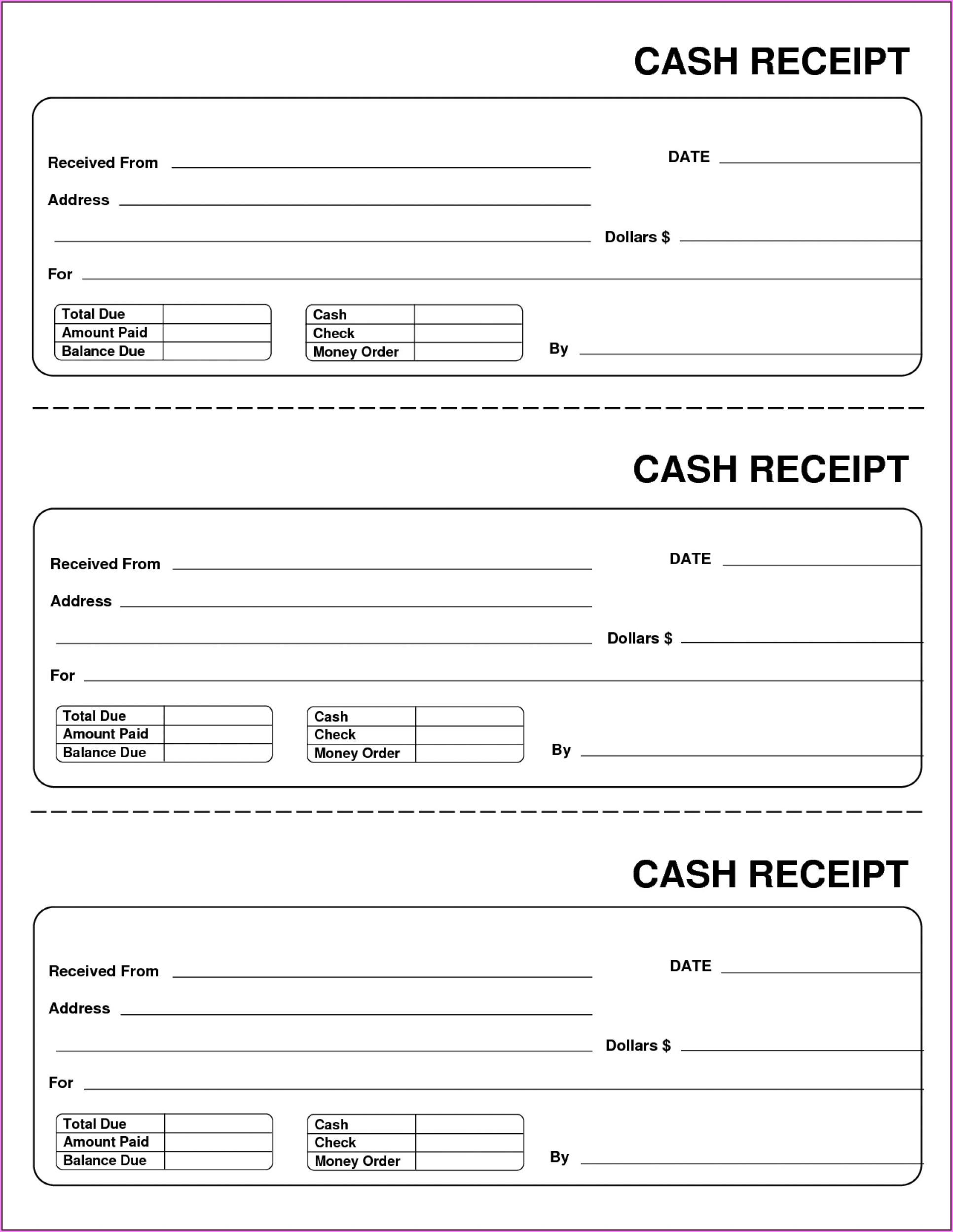 Free Cash Receipt Template Pdf