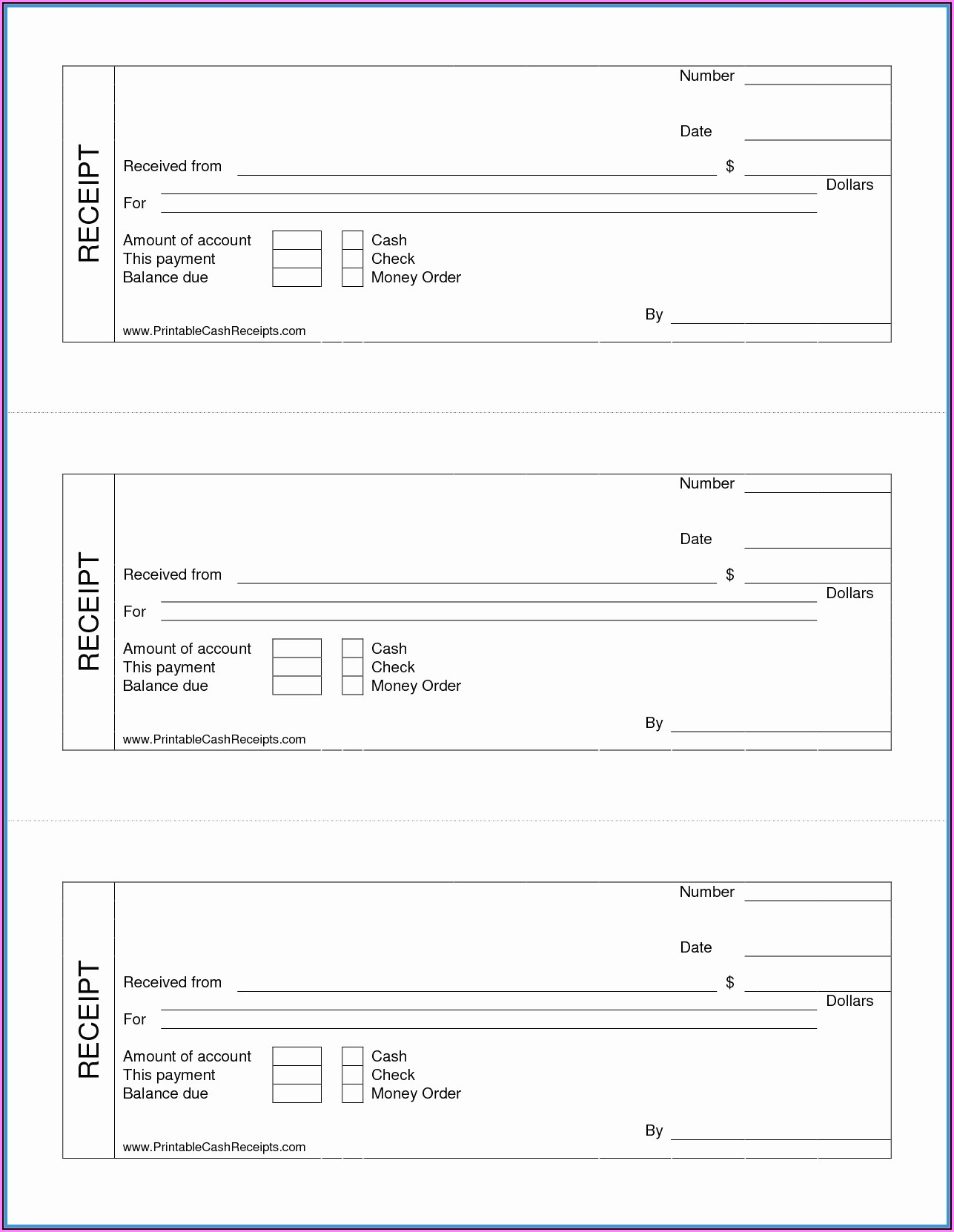 Free Cash Receipt Template Uk