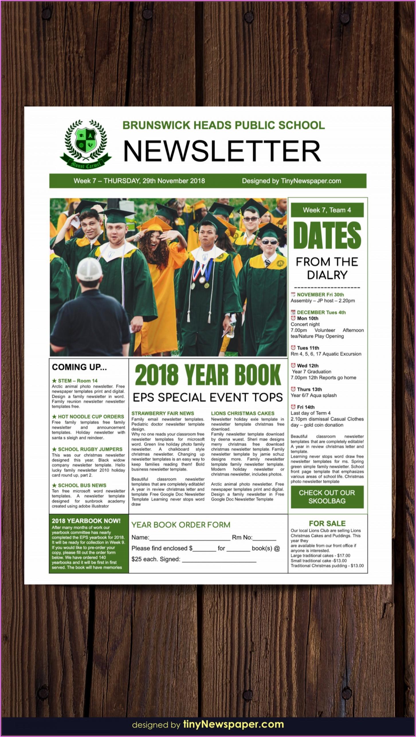 Free Classroom Newsletter Templates For Teachers
