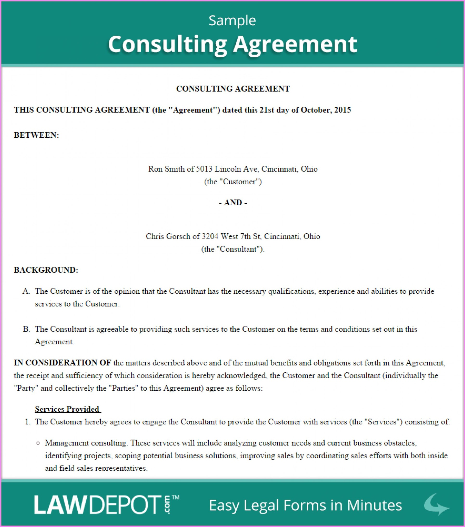 Free Consulting Agreement Template Word